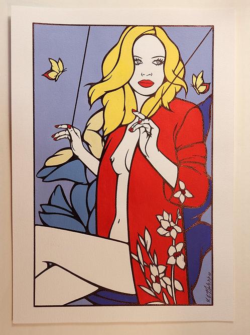 """Sophie Dumont. Dessin original sexy 26,5 x 17 cm acrylique et stylo """"MARIONETTE"""""""