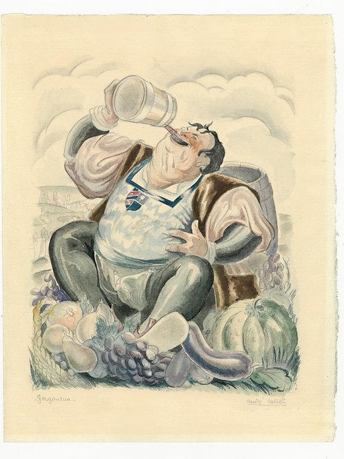 André Collot. Rabelais. Gargantua. Aquarelle originale (1933). Unique.