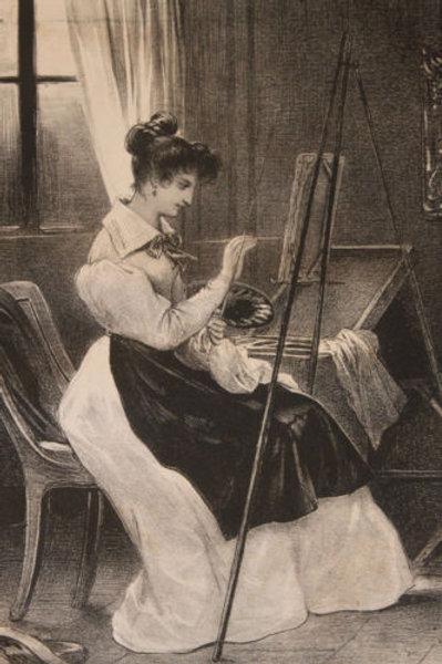 "Lithographie originale 1829 Achille Devéria ""L'artiste"""