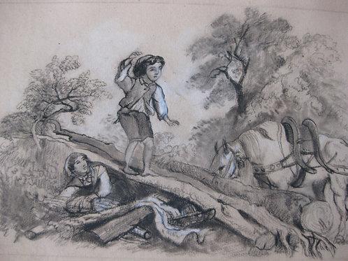 dessin ancien au fusain Enfant cherchant de l'aide vers 1850
