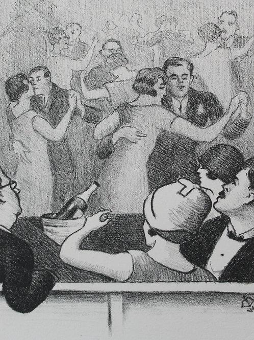Lithographie de Georges Van Houten Moulin rouge  La piste de danse