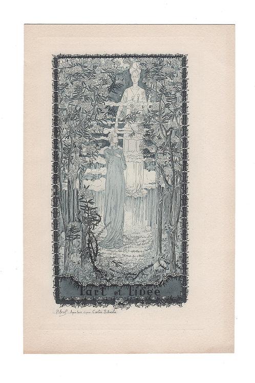 Carloz Schwabe / Paul Avril eau-forte aquatinte Art Nouveau et Symbolisme