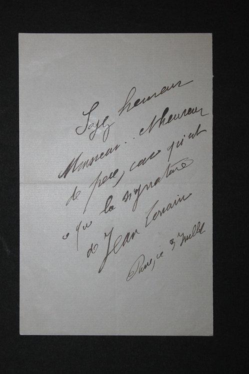 Jean Lorrain. Il offre un autographe a quelqu'un qui lui demandait ...