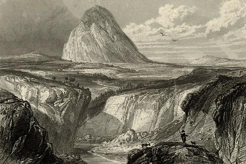1856 Bords de Loire Gravure sur acier tirée sur chine contrecollé Mont Gerbier