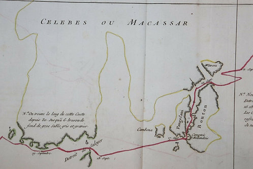 1765 1770 Map Carte géographique Atlas Maritime Celebes Macassar Indonésie