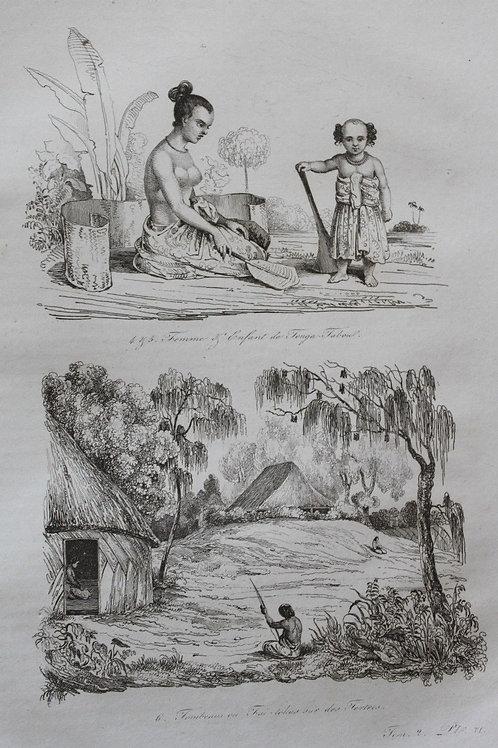 1834 Voyage autour du monde d'Urville 4 gravures double feuille Tonga polynésie