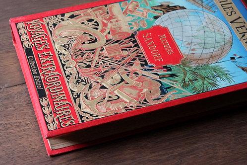 Jules Verne. Mathias Sandorf (1885). Cartonnage Hetzel polychrome mappemonde