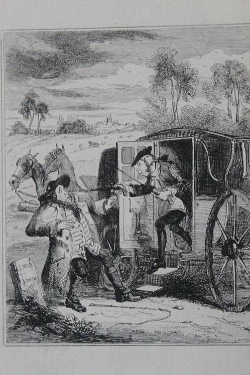 1880 Gravure Phiz Chronicles of crime John Smith robbing a Hackney Coachman