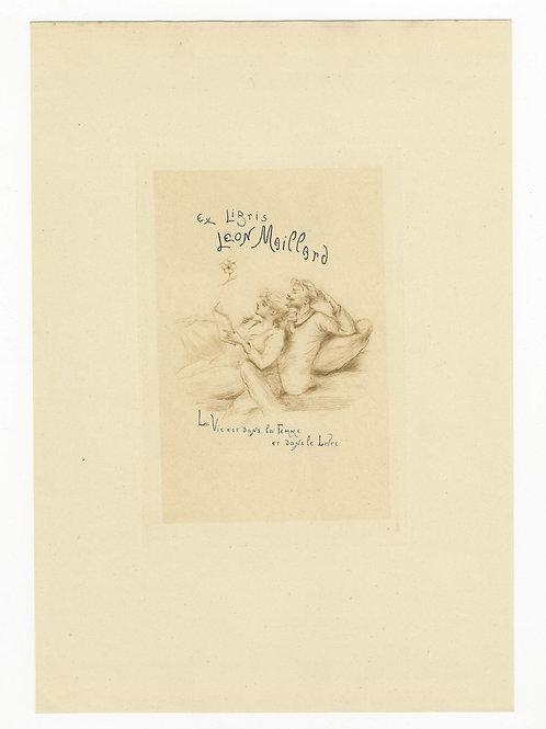 Henri Boutet. Gravure ex libris Léon Maillard (fin XIXe siècle). Superbe