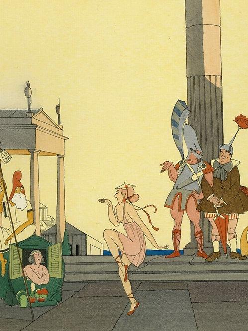 1922 Zyg Brunner Art Deco Estampe aquarellée pochoir Grèce Danse