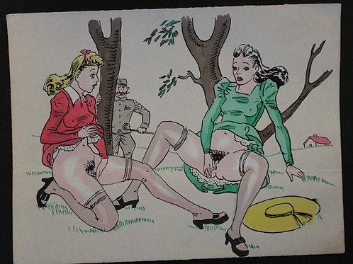Aquarelle originale érotique vintage (vers 1950-1955). N°18
