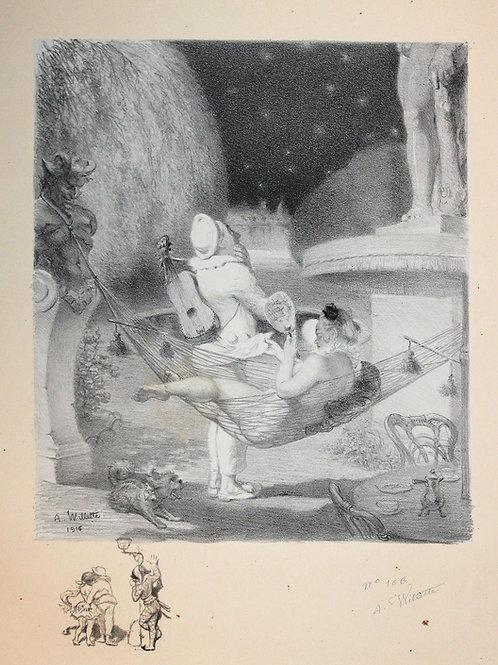 1916 Lithographie Les Sept Péchés Capitaux L'envie Adolphe Willette