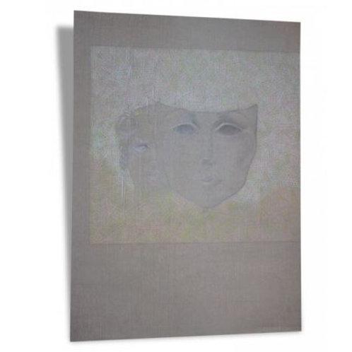 Grand Dessin original signé Le Moult (vers 1975). Femme et Masque