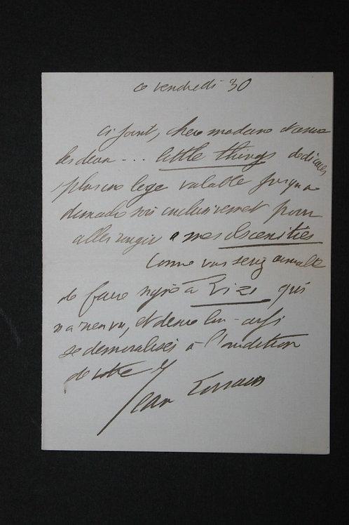 Jean Lorrain. Billet autographe signé à une dame (s.d.)