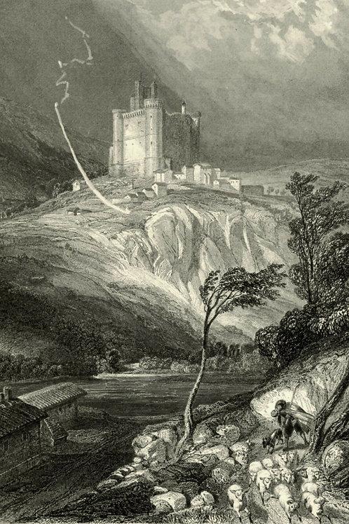 1856 Bords Loire Gravure sur acier tirée sur chine contrecollé Château Bouzols