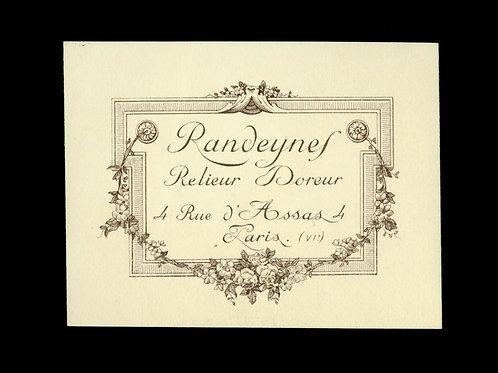 Relieur Randeynes Doreur Paris étiquette correspondance vente fonds Curmer