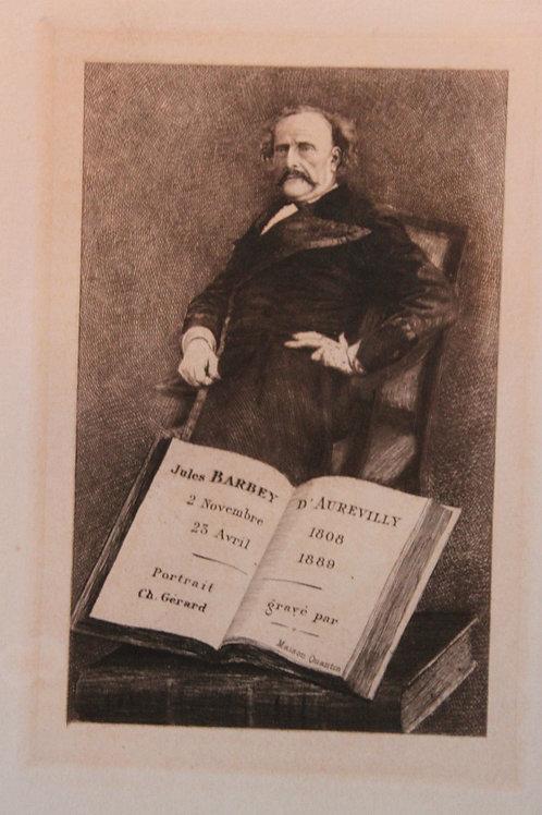 1890 Barbey d'Aurevilly Portrait gravé eau-forte Ch. Gérard