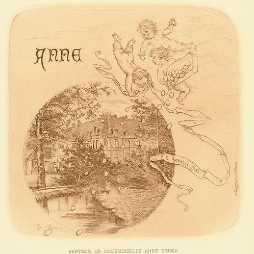 1894 HENRI BOUTET Pointe sèche ANNE D'UZES FAIRE PART BAPTÊME etching 1/400 ex.