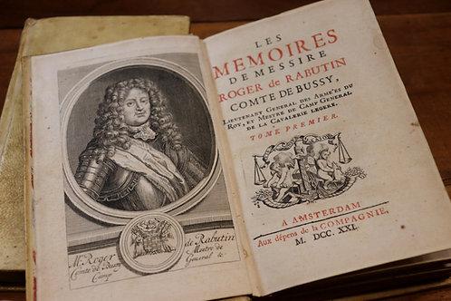 Bussy-Rabutin. Mémoires. Edition hollandaise de 1721. Reliure parchemin