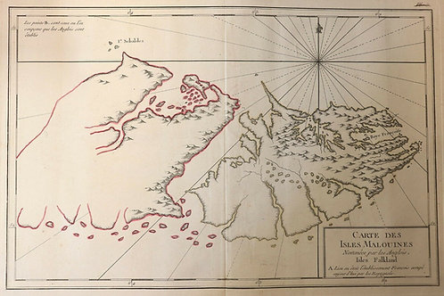 Map Carte géographique Iles Malouines Falkland Malvinas Atlantique Sud explorer