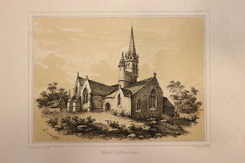 1854 Finistère Bretagne Lithographie A. Longchamps Pluguffan près Quimper