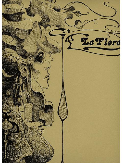 Christian Le Moult. (Le Flore). Dessin original. Symbolisme (vers 1975)