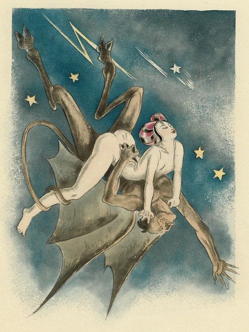 1933 ANDRÉ COLLOT estampe originale couleurs DIABLE CURIOSA RABELAIS 1/300