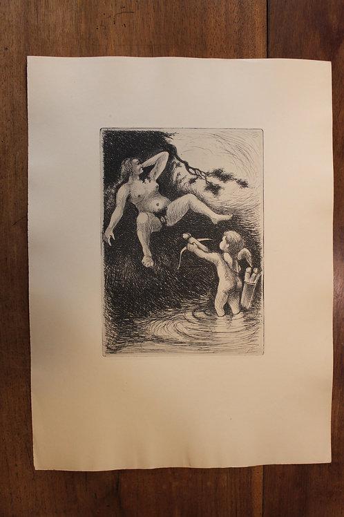 Eau-forte érotique. Luc Lafnet ? (vers 1930-1940). Belle épreuve