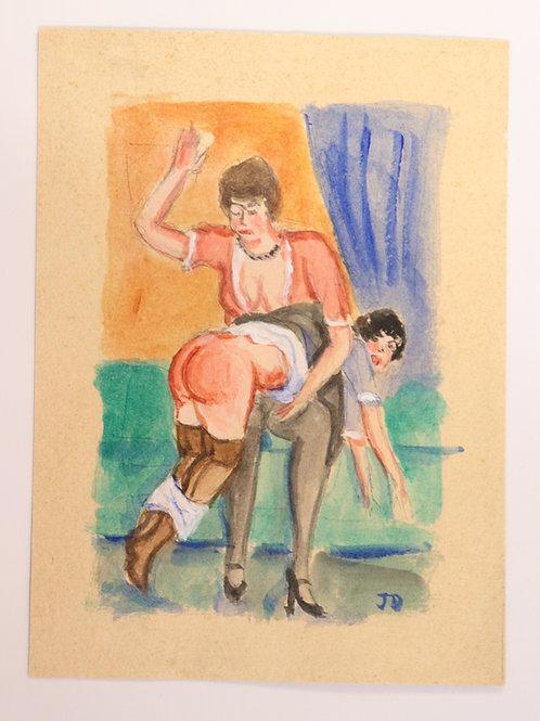 2 dessins originaux années 1930-1940. Fessée / Spanking BDSM