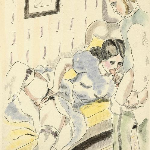 VIROT / CHAS LABORDE estampe ancienne 1926 erotica curiosa Chansons de Béranger