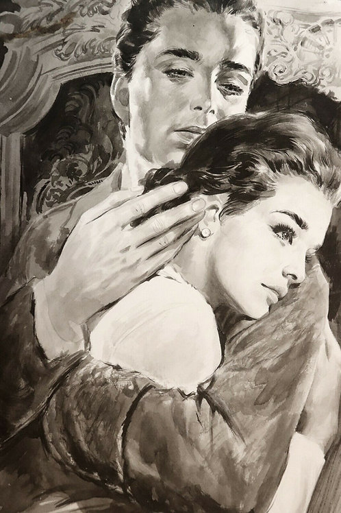1966 Dessin original Angelo Di Marco Lavis encre de chine Roman-Photo Télé Poche