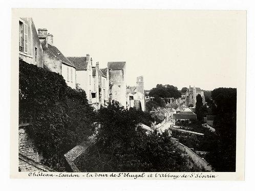 Photographie ancienne vers 1910 Château-Landon la tour et l'abbaye Seine Marne