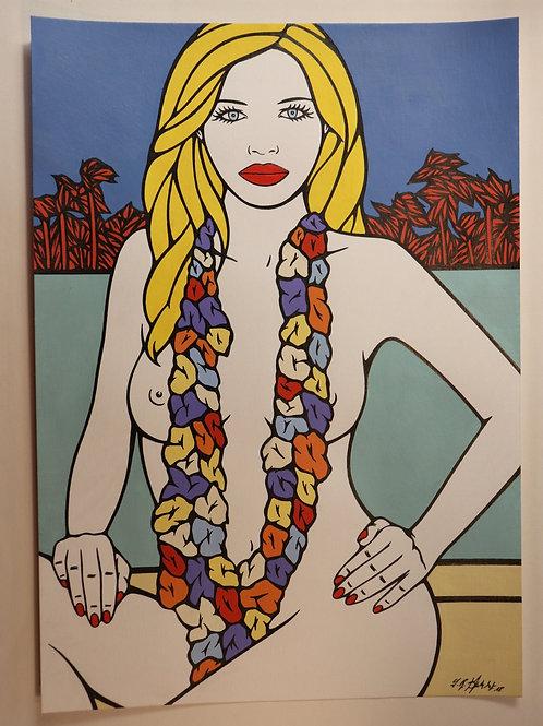 """Sophie Dumont. Dessin original sexy 29,5 x 21 cm acrylique et stylo """"MAEVE"""""""