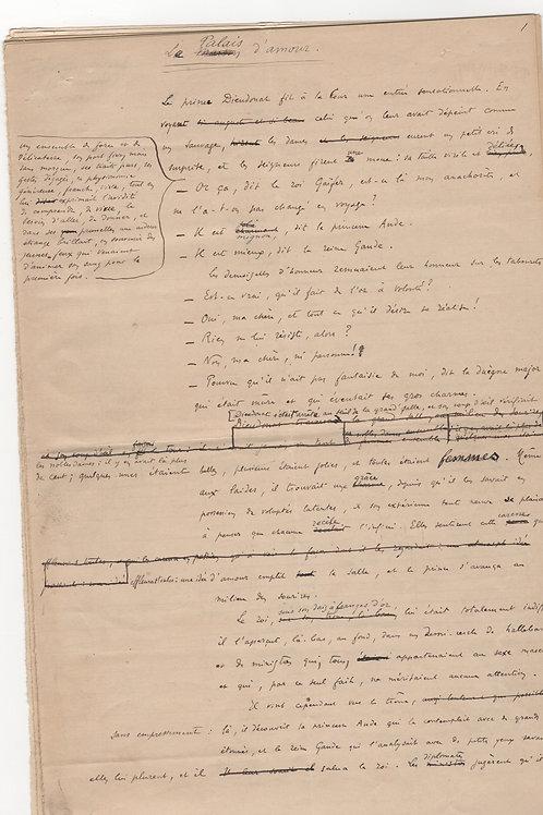 Edmond Haraucourt. Manuscrit autographe signé. Le Palais d'amour (1912)