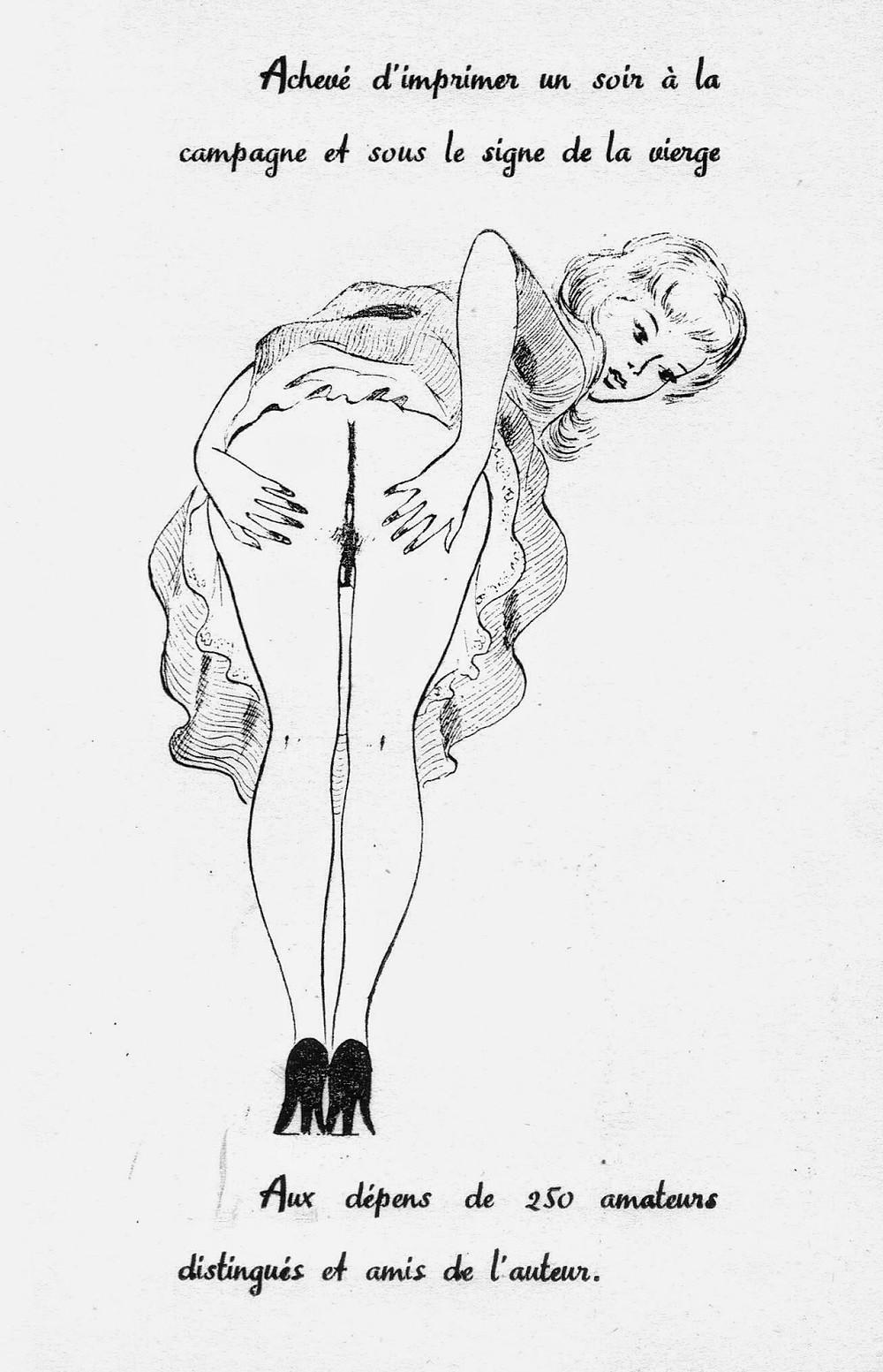 Achevé d'imprimer pour Les Parfums de Sensitive, Édition clandestine érotique par Eric Losfeld, vers 1955 (artiste anonyme)