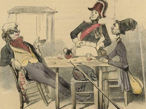 1839 Daumier Les Robert-Macaire Planche n°50 Caricature XIXe coloris époque rare
