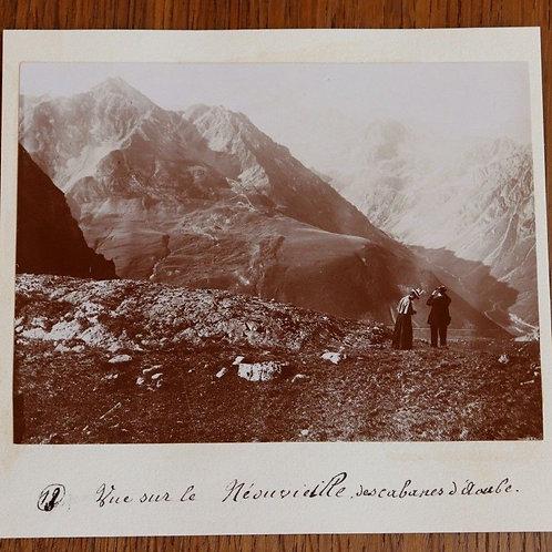 Photographie ancienne 1899 Vue Néouvielle des cabanes d'Aoube Pyrénées