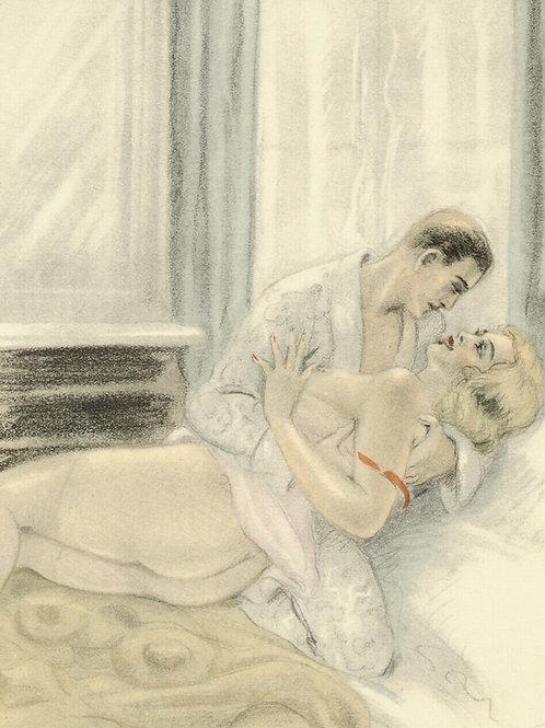LÉON COURBOULEIX estampe aquarellée pochoir pour CHÉRI de Colette 1949 amour