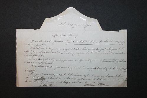 Jean Lorrain. Lettre signée écrite par sa mère 5 janvier 1904 à Maurey
