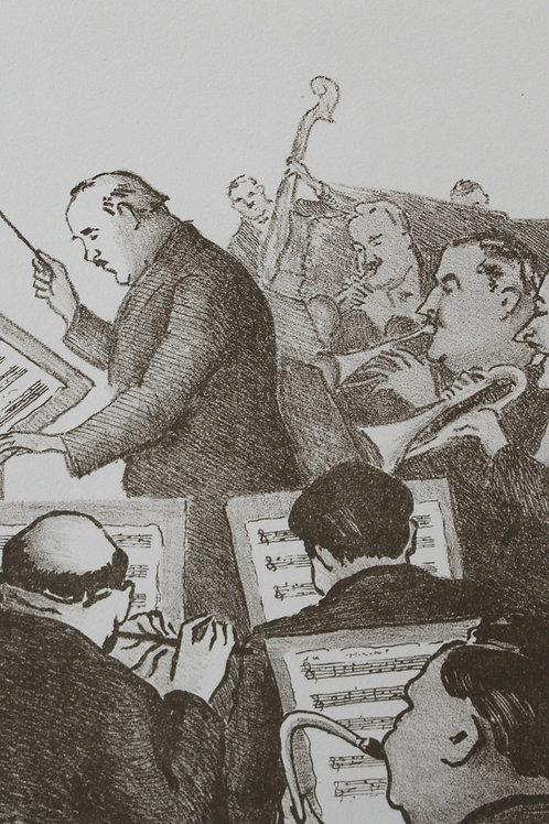 Lithographie de Georges Van Houten Moulin rouge orchestre de Jazz