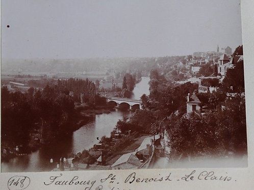 Photographie ancienne 1899 Vue Faubourg St Benoit Poitiers Vienne