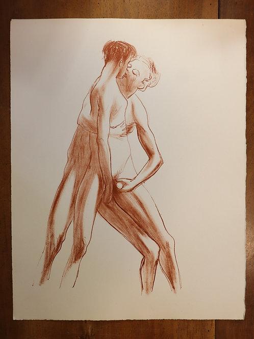 Paul Verlaine. Artiste inconnu. Lithographie originale érotique. Vers 1950