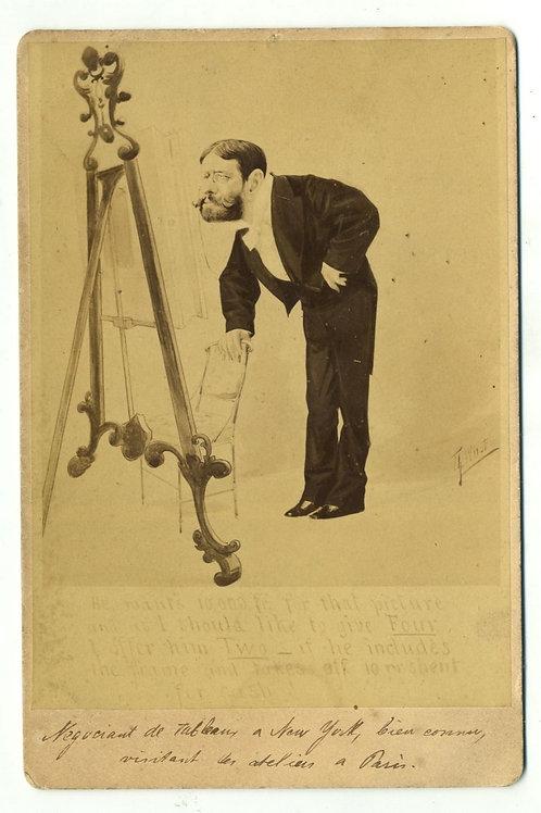 Photographie ancienne format cabinet caricature négociant de tableaux