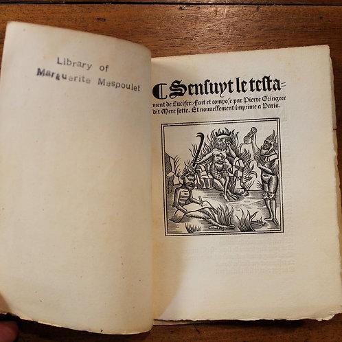 Sensuyt le Testament de Lucifer (1521). Plaquette imprimée en gothique (1845)
