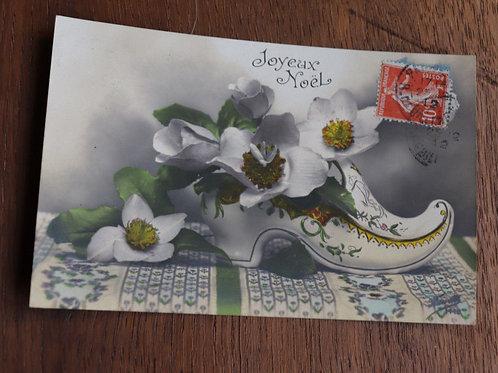 CPA fantaisie Joyeux Noël 1912 fleurs