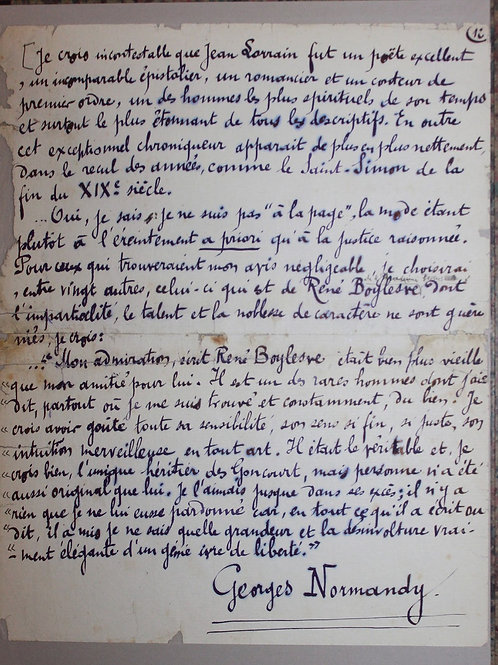 Manuscrit autographe : La Gloire de Jean Lorrain (1912). Par Georges Normandy