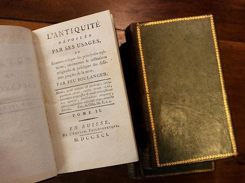 Boulanger/Holbach. L'Antiquité dévoilée par les usages (1791). Belle reliure