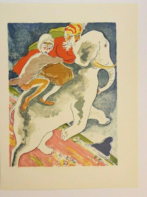 Kees Van Dongen Estampe 1955 aquarelle Mille et une nuits Oriental N°12 éléphant