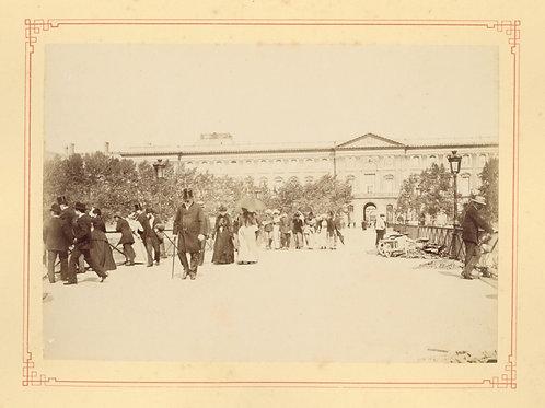 Paris 1890 1900 Photographie ancienne monument scène animée Tirage albumine 2
