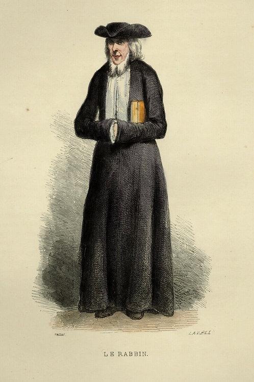 1842 LE RABBIN JUIF Les Français ... estampe aquarellée époque